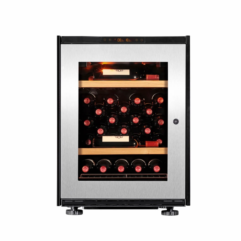 Vitrina de vinuri EuroCave S-Inspiration S capacitate 17 sticle rafturi mixte finisaj lemn usa sticla otel