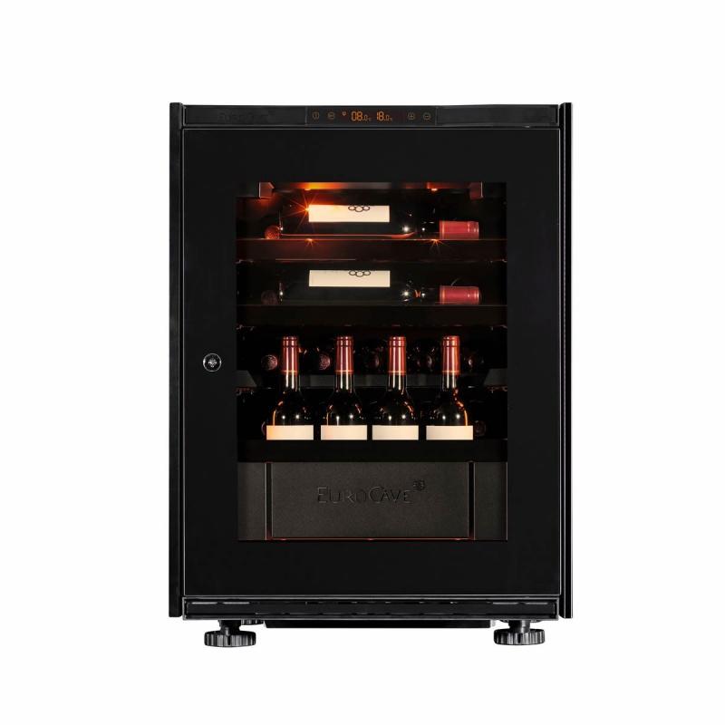 Vitrina de vinuri EuroCave S-Inspiration S capacitate 17 sticle rafturi mixte finisaj negru usa sticla neagra
