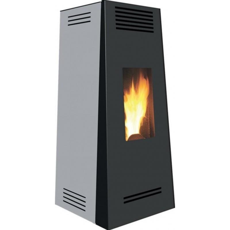 Sobă Caminetti Montegrappa NP10 Timbro Evo pe peleți cu aer cald ventilat, 10 kw - gri metalizat