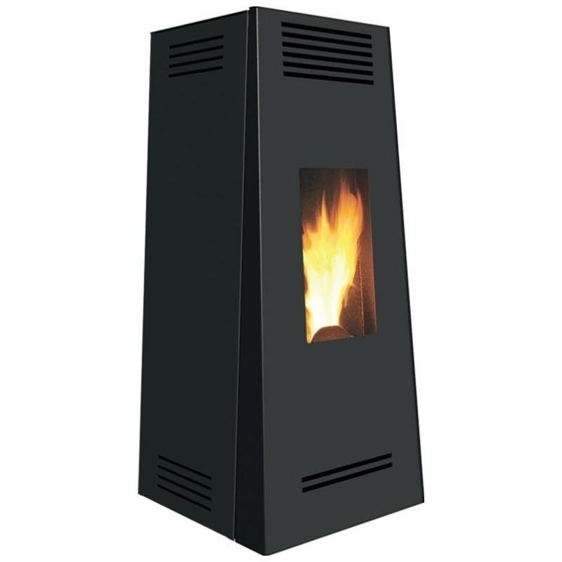 Sobă Caminetti Montegrappa NPS7 EVO Timbro Evo cu peleți cu aer cald, cu ventilație smart 7 kw - placare negru din oțel