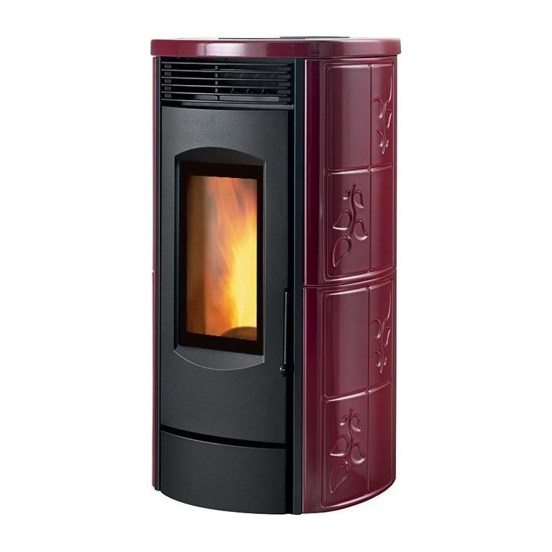 Sobă pe lemne Caminetti Montegrappa LH10 Alpina Xw cu aer cald putere 12 kw- bordeaux lucios înveliș din majolică