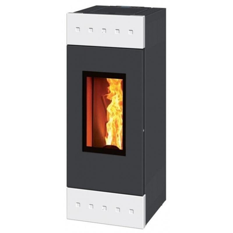 Sobă Caminetti Montegrappa NPS10 EVO Tile Evo cu peleți cu aer cald, cu ventilație smart de 10 kw - placare majolica albă mată