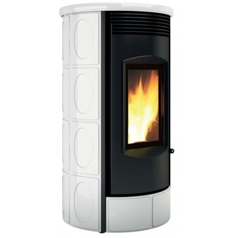 Sobă Caminetti Montegrappa LS6 Evoca Evo pe peleți cu aer cald ventilat sistem, a. s. s. 6 kw - alb lucios înveliș din majolică