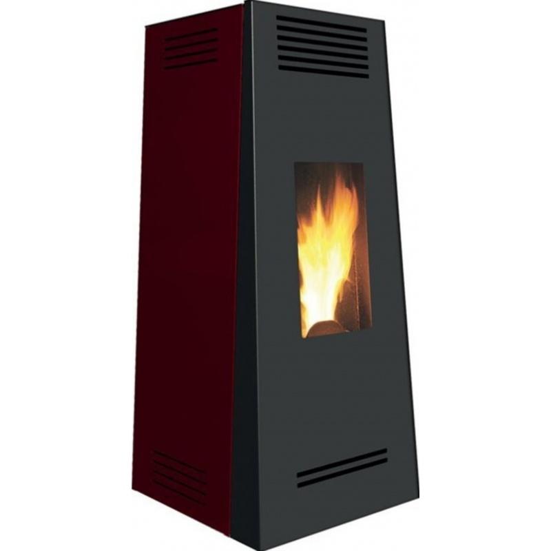 Sobă Caminetti Montegrappa NX10 Timbro Evo pe peleți cu aer cald ventilat -10 kw - rosu oțel vopsit