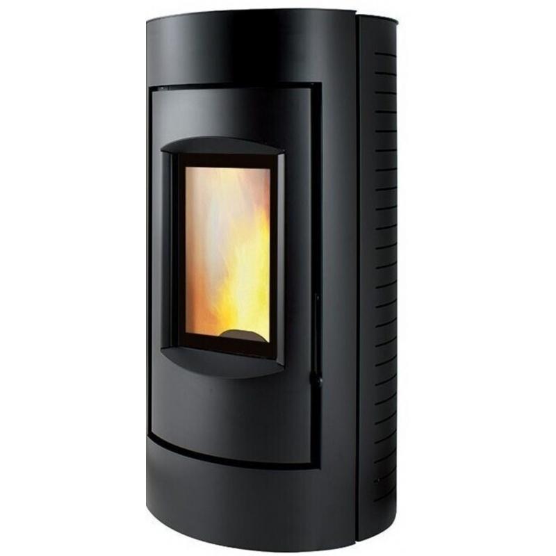 Sobă Caminetti Montegrappa LXE9 Ring Xw pe peleți cu aer cald, placat cu otel negru
