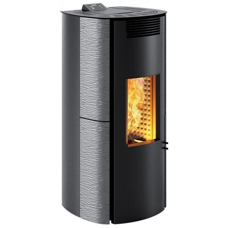 Sobă Caminetti Montegrappa NPS7 EVO Cima Evo cu peleți cu aer cald, cu ventilație smart de 7 kw - placare gri metalic