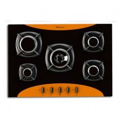 Plita incorporabila Bompani Colorme BO219VE/N, 70 cm, plita gaz, 5 arzatoare,sistem siguranta Stop-Gaz, portocaliu/negru
