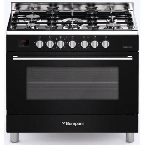 Aragaz Bompani Diva BO687MA/N, 90x60 cm, plita gaz, 5 arzatoare, aprindere electronica, grill, negru