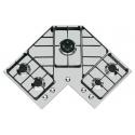 Plita incorporabila Foster Angolare 7038052, instalare STD, gaz, 83cm, 5 arzatoare, aprindere electrica, siguranta gaz, inox