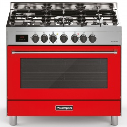 Aragaz Bompani Tech BO689DA/N, 90x60 cm, gaz, 5 arzatoare, aprindere electronica, grill, rotisor, rosu