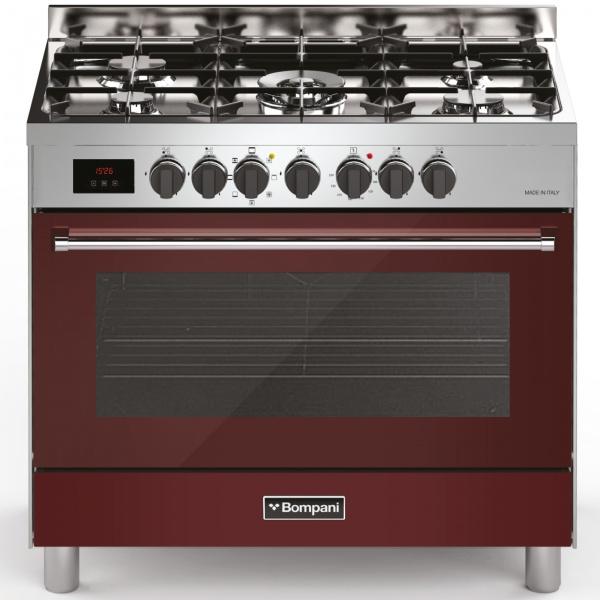 Aragaz Bompani Tech BO689DC/N, 90x60 cm, gaz, 5 arzatoare, aprindere electronica, grill, rotisor, negru