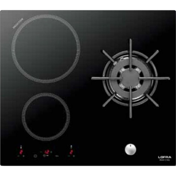 Plita incorporabila Lofra Luna, HIM612, 60 cm, plita inductie+gaz, 3 zone gatit, booster, sticla neagra