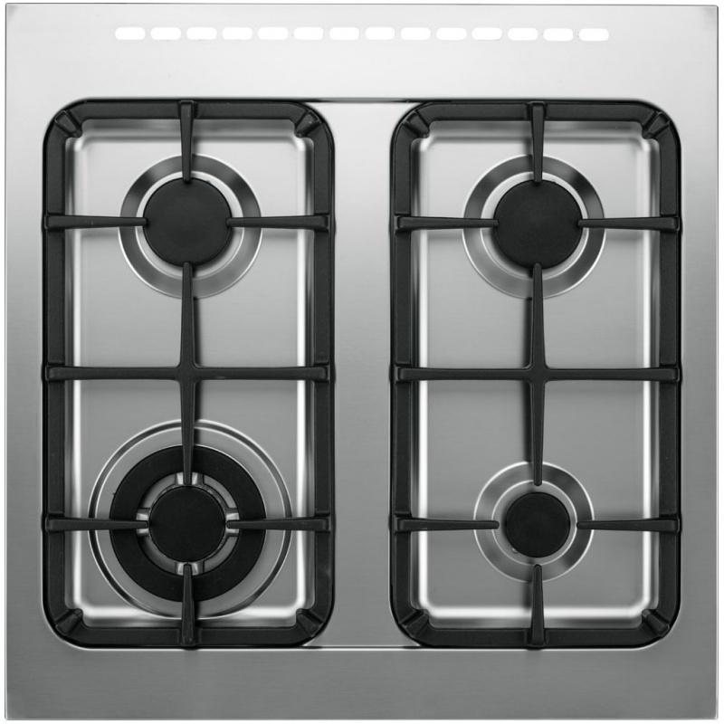 Aragaz Tecnogas PRO PT667XS, 60x60 cm, gaz, 4 arzatoare, aprindere electronica, grill, otel inoxidabil