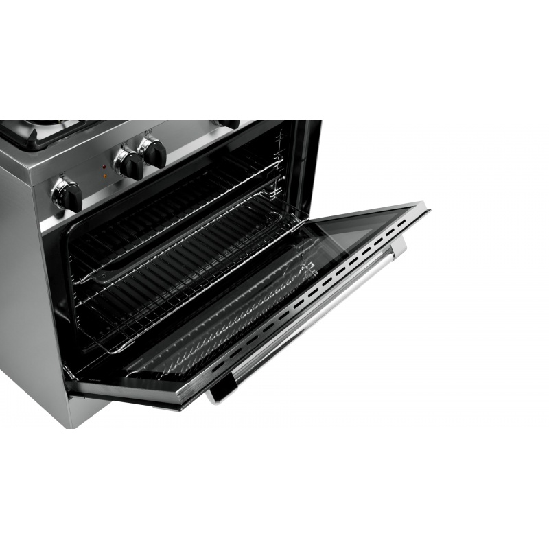Aragaz Tecnogas PRO P855GW, 80x50 cm, gaz, 5 arzatoare, aprindere electronica, grill, cuptor gaz, alb