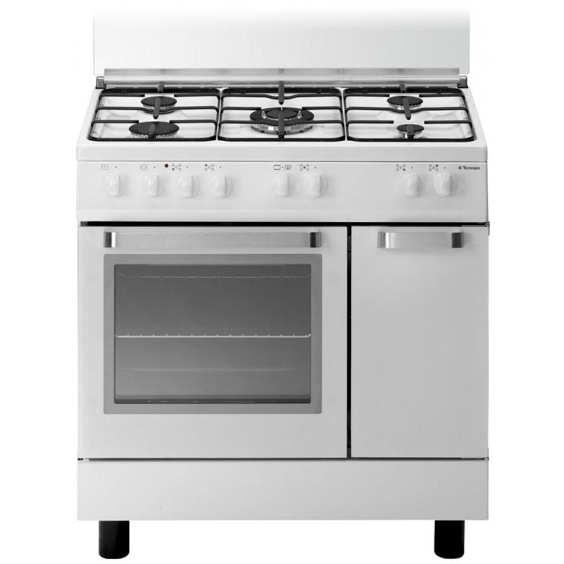 Aragaz Tecnogas ARKE D827WS, 80x50 cm, gaz, 5 arzatoare, aprindere electronica, grill, alb