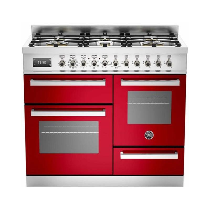 Aragaz Bertazzoni Profesional PRO1006MFETROT, 100x60 cm, gaz, 6 arzatoare, 3 cuptoare electrice, rosu