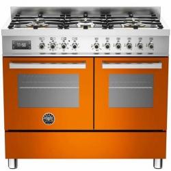Aragaz Bertazzoni Profesional PRO1006MFEDGIT, 100x60 cm, gaz, 6 arzatoare, 2 cuptoare electrice, galben