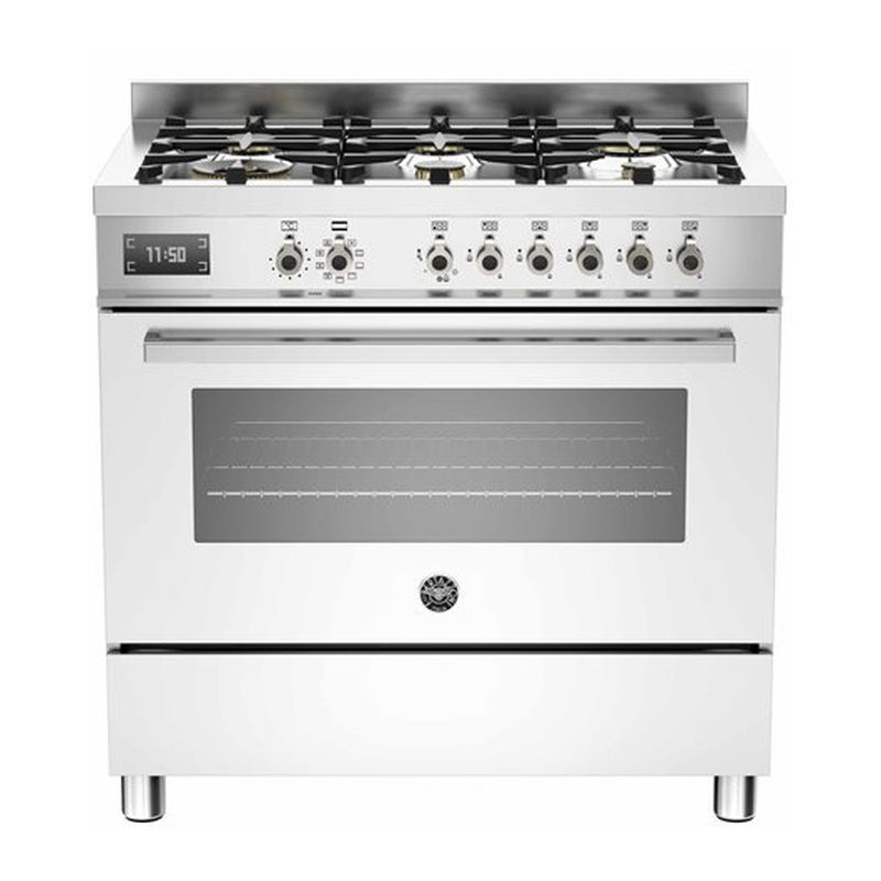 Aragaz Bertazzoni Profesional PRO906MFESBIT, 90x60 cm, gaz, 6 arzatoare, cuptor electric, alb