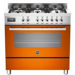 Aragaz Bertazzoni Profesional PRO906MFESGIT, 90x60 cm, gaz, 6 arzatoare, cuptor electric, galben