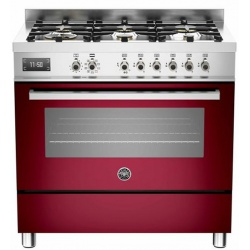 Aragaz Bertazzoni Profesional PRO906MFESROT, 90x60 cm, gaz, 6 arzatoare, cuptor electric, rosu