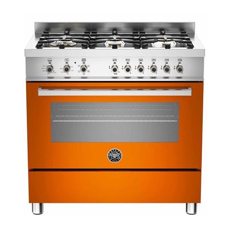 Aragaz Bertazzoni Profesional PRO906HYBSART, 90x60 cm, gaz, 6 arzatoare, cuptor hibrid multifunctional, portocaliu