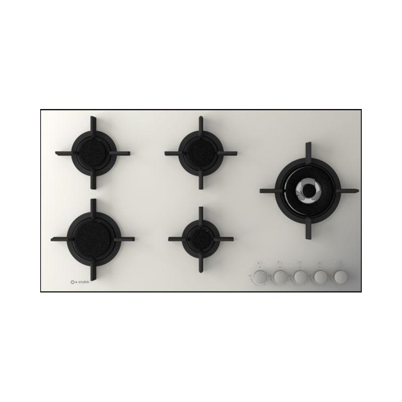 Plita incorporabila Smalvic FLAT PC-MF90 4GTC VS, 90 cm, plita gaz, 5 arzatoare, sistem siguranta Stop-Gaz, sticla alba