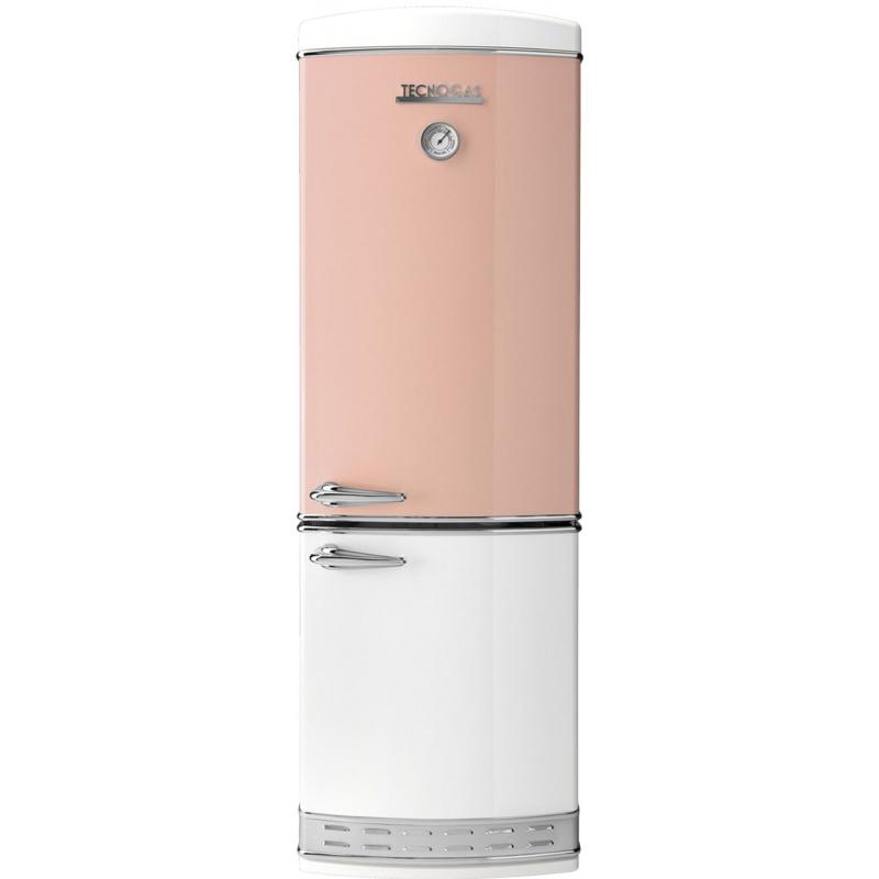 Combina frigorifica Tecnogas Frigo 1952 bicolor , Clasa A+, 335 litri, Latime 60 cm, total No Frost, roz-alb