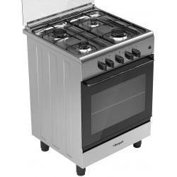 Aragaz Bompani Ecoline BI643KB/N, 60x60 cm, plita gaz, 4 arzatoare, aprindere electronica, grill, inox