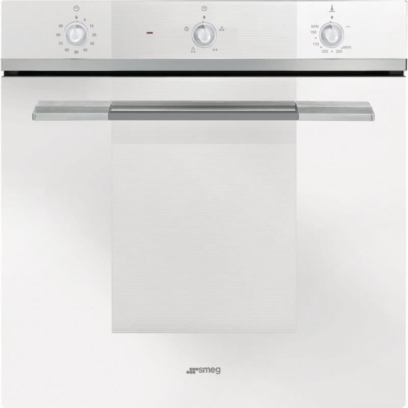 Cuptor incorporabil Smeg Linea SF102GVB, gaz , 8 functii, rotisor, 60cm, sticla alba