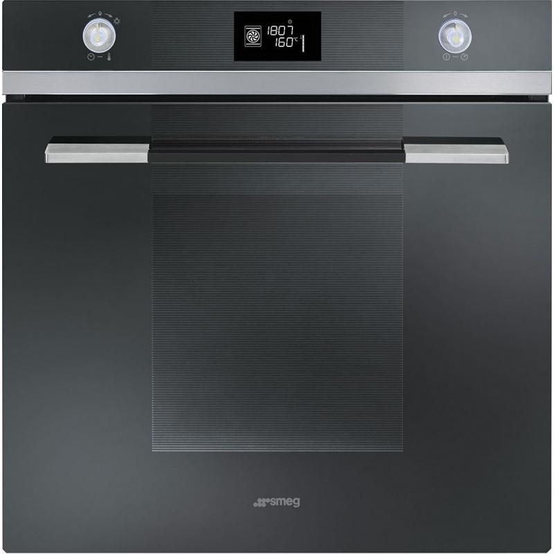 Cuptor incorporabil Smeg Linea SFP121NE, electric, multifunctional, 60 cm, sticla neagra, piroliza