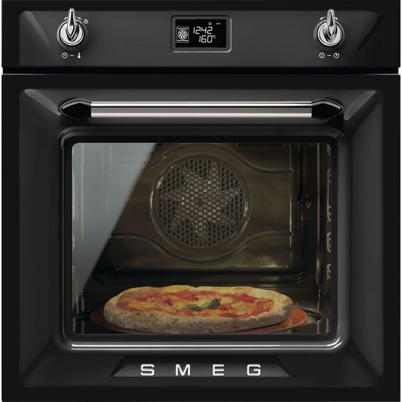 Cuptor incorporabil Smeg Victoria SF6922NPZE, electric, multifunctional, 60cm, sticla neagra, pizza