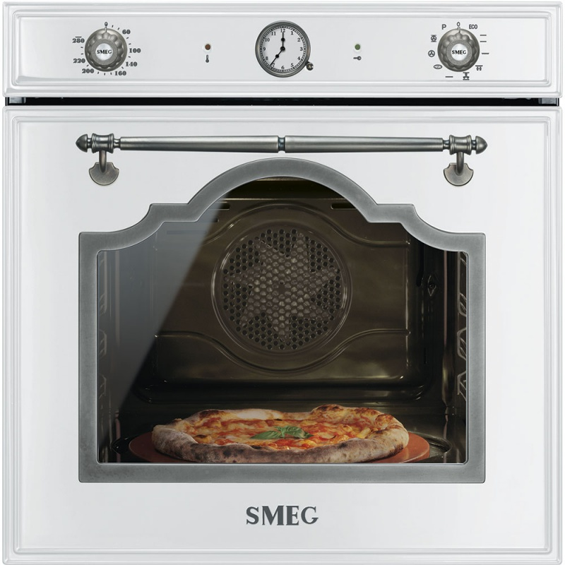 Cuptor incorporabil Smeg Cortina SFP750BSPZ, electric, multifunctional, 60cm, sticla alba, pizza, piroliza