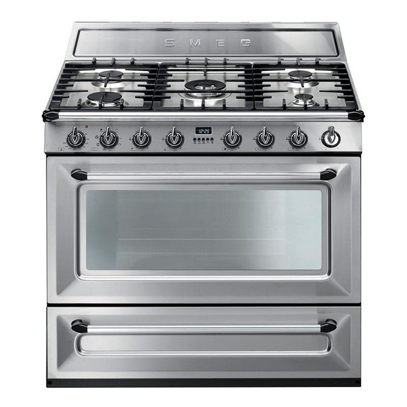 Aragaz SMEG Victoria TR90X1, 90X60cm, 5 arzatoare, cuptor electric, timer, aprindere electronica, inox