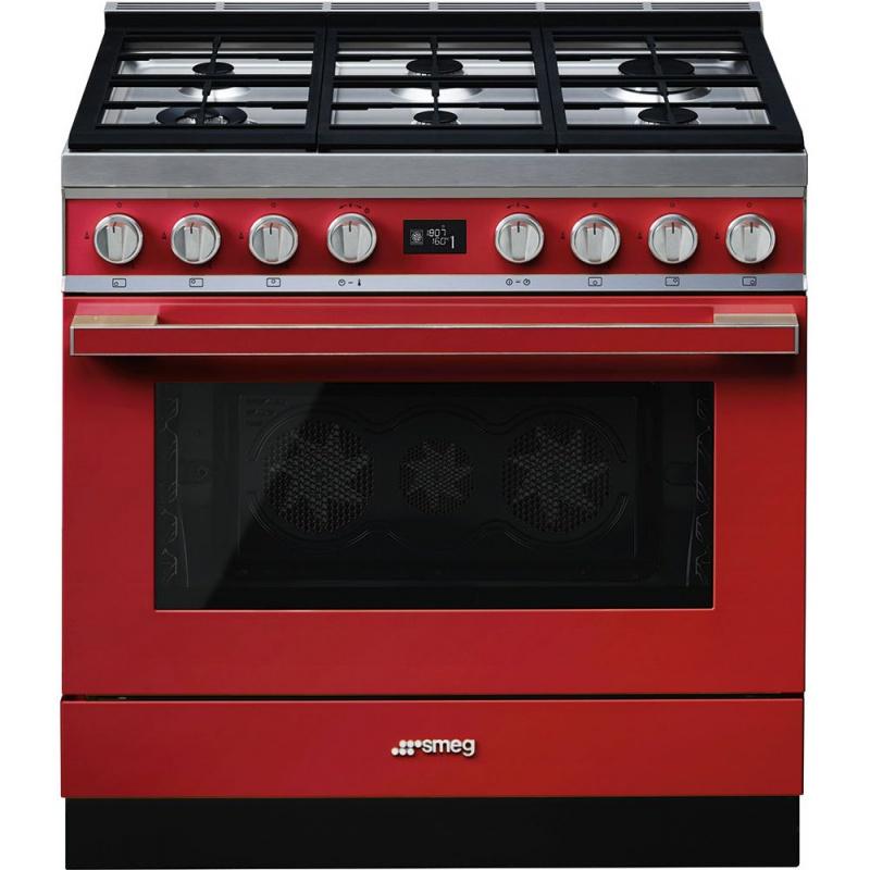 Aragaz SMEG Portofino CPF9GMR, 90X60cm, 6 arzatoare, cuptor electric, timer, aprindere electronica, rosu, curatare aburi