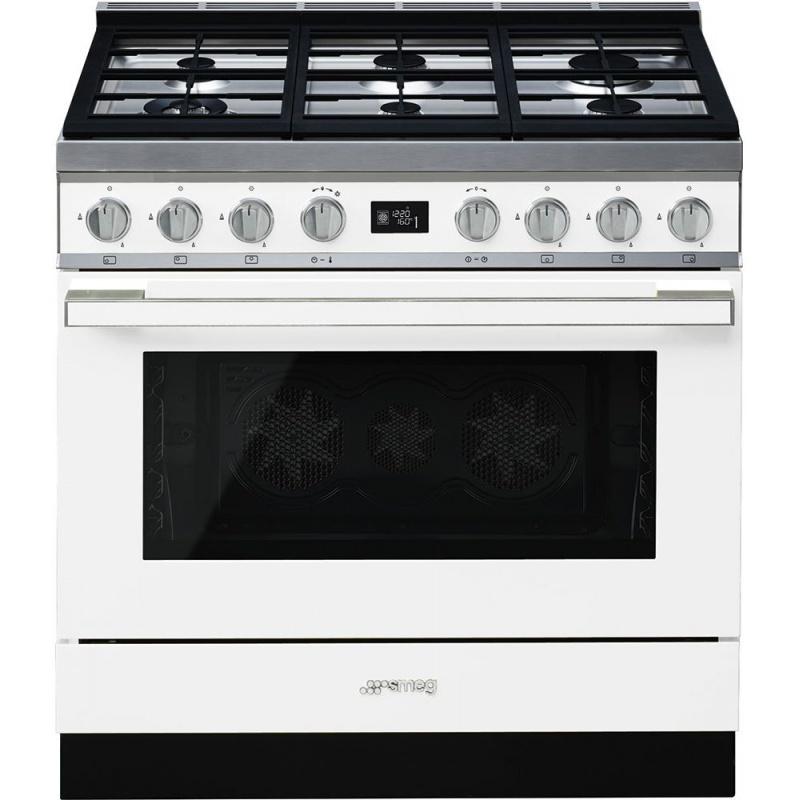 Aragaz SMEG Portofino CPF9GMWH, 90X60cm, 6 arzatoare, cuptor electric, timer, aprindere electronica, alb, curatare aburi