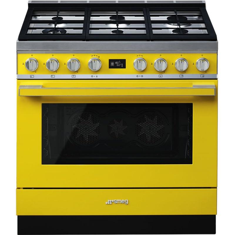 Aragaz SMEG Portofino CPF9GMYW, 90X60cm, 6 arzatoare, cuptor electric, timer, aprindere electronica, galben, curatare aburi