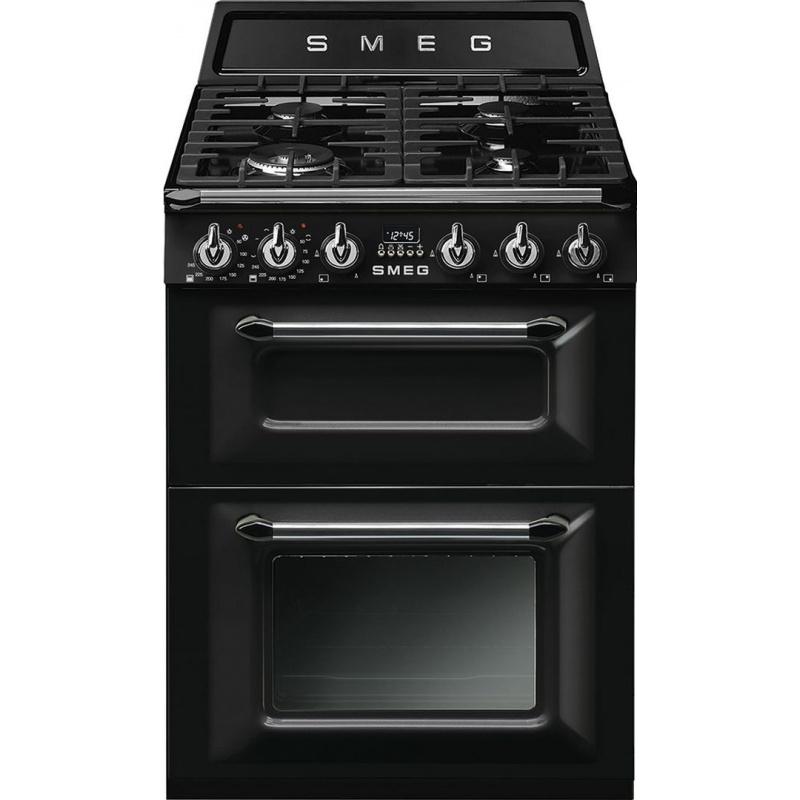 Aragaz SMEG Victoria TR62BL, 60X60cm, 4 arzatoare, cuptor dublu electric, timer, aprindere electronica, negru