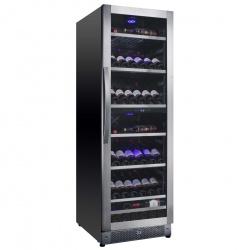 Racitor de vinuri Nevada Concept NW125D-SSL, 125 sticle, doua zone, negru/otel inoxidabil