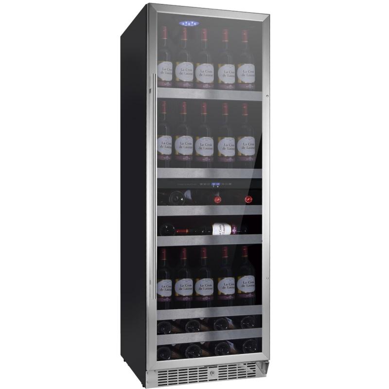 Vitrina de vinuri Nevada Concept NW140D-SL, 140 sticle, doua zone, negru/otel inoxidabil