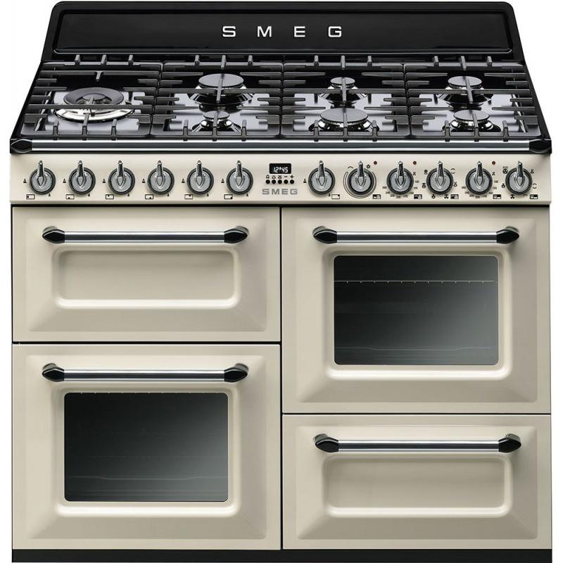 Aragaz SMEG Victoria TR4110P1, 110X60cm, 7 arzatoare, cuptor triplu electric, timer, aprindere electronica, crem
