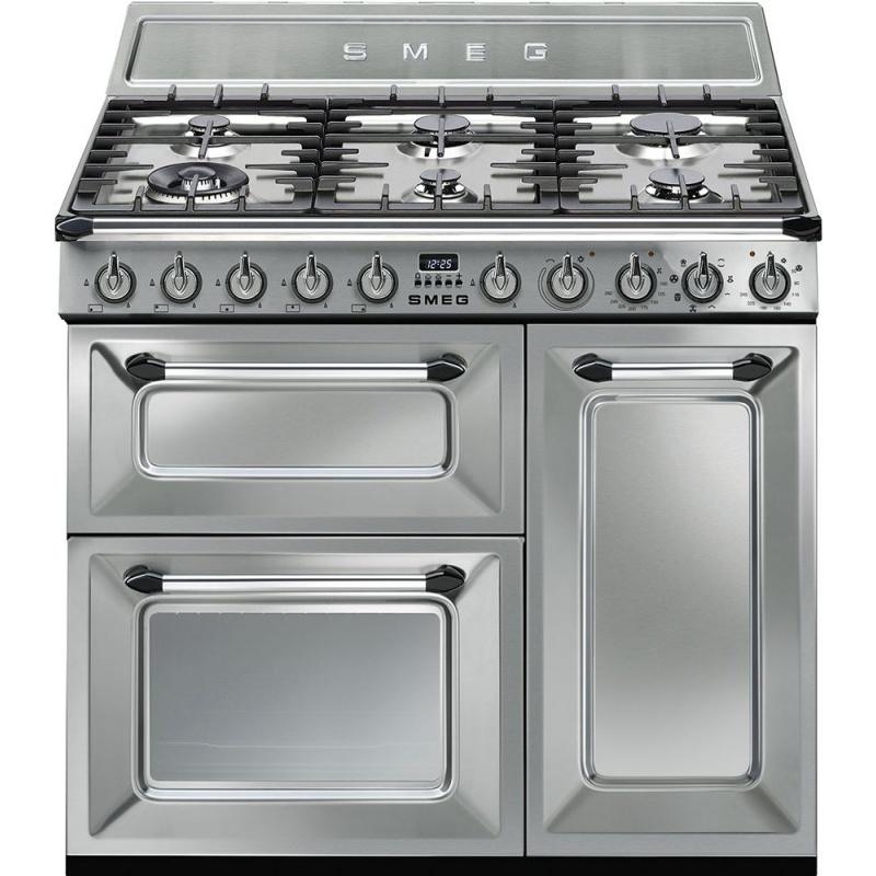 Aragaz SMEG Victoria TR93X, 90X60cm, 6 arzatoare, cuptor triplu electric, timer, aprindere electronica, inox