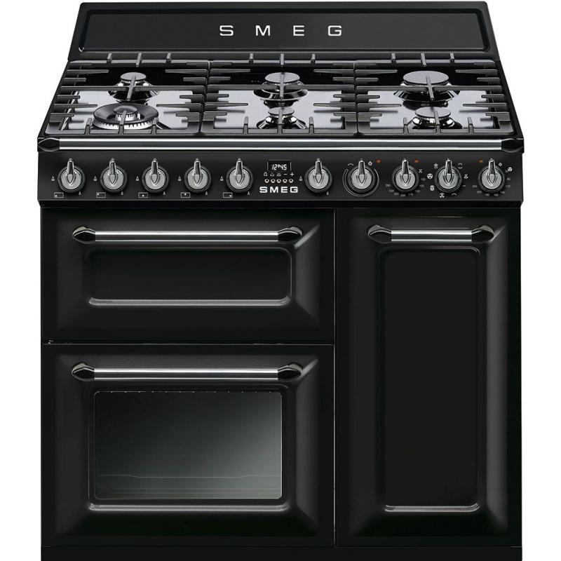 Aragaz SMEG Victoria TR93BL, 90X60cm, 6 arzatoare, cuptor triplu electric, timer, aprindere electronica, negru