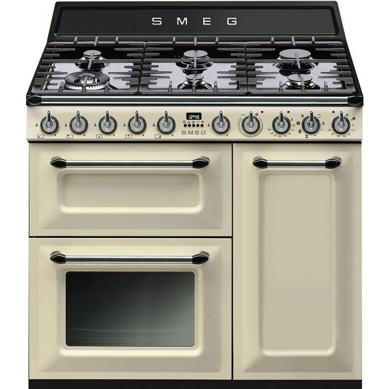 Aragaz SMEG Victoria TR93P, 90X60cm, 6 arzatoare, cuptor triplu electric, timer, aprindere electronica, crem