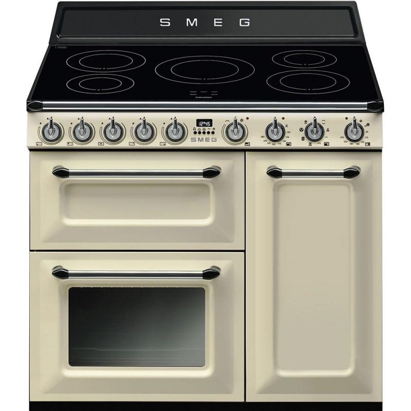 Aragaz SMEG Victoria TR93IP, 90X60cm, inductie, 5 zone gatit, cuptor triplu electric, timer, aprindere electronica, crem