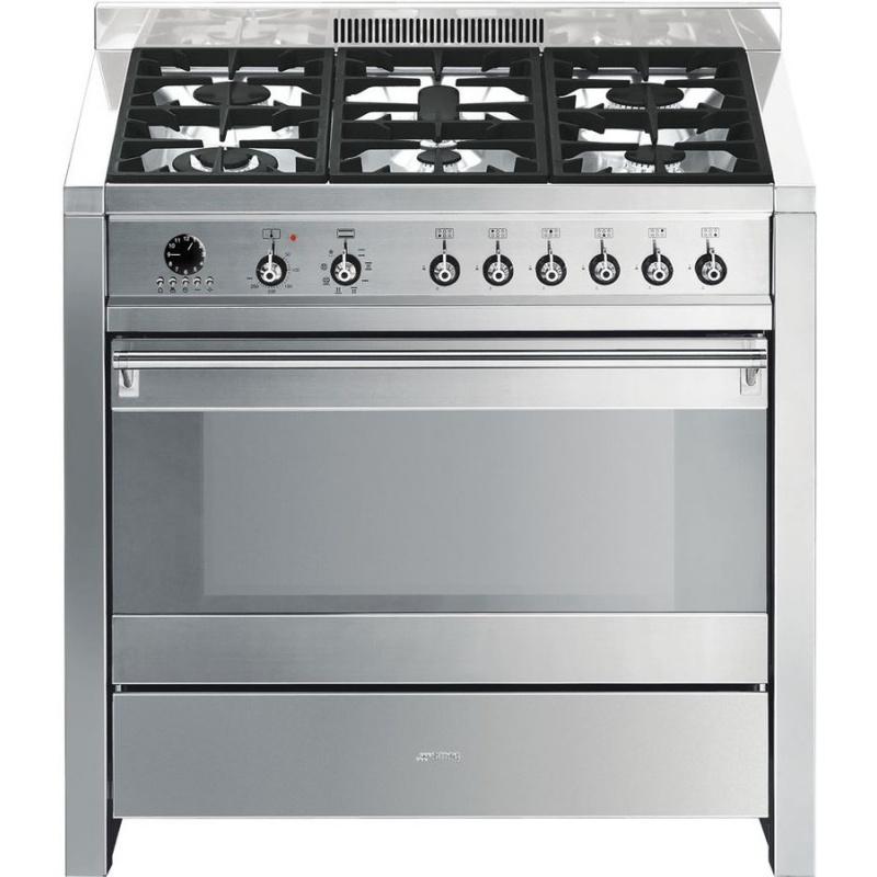 Aragaz SMEG Opera A1-7, 90X60cm, 6 arzatoare, cuptor electric, timer, aprindere electronica, inox