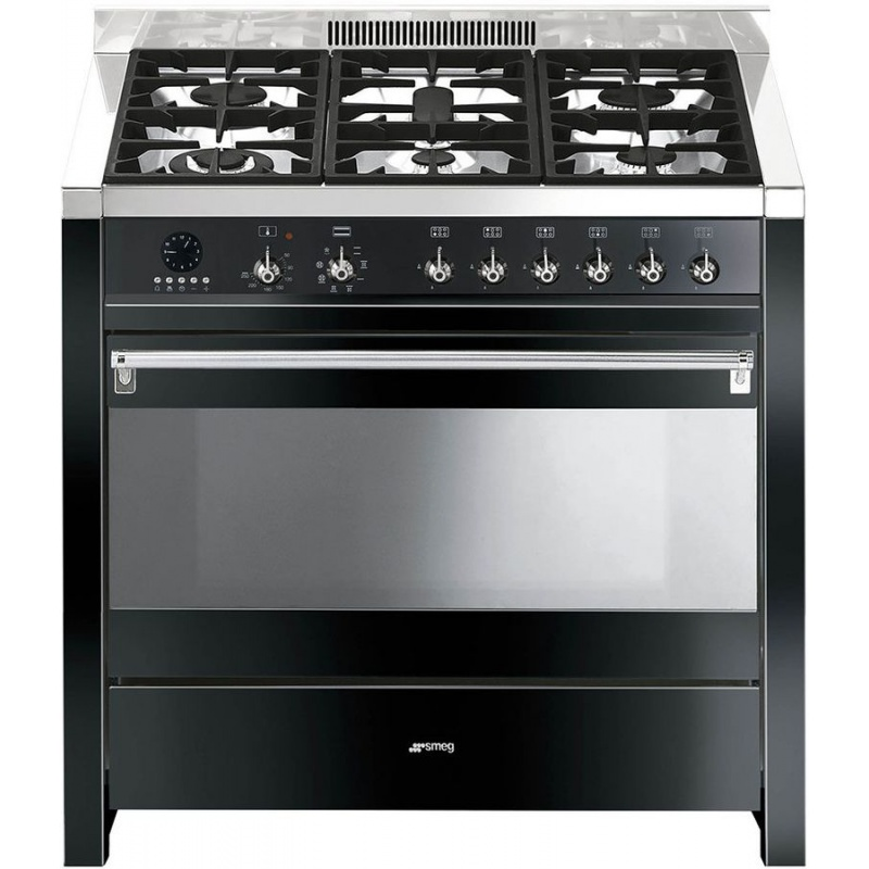 Aragaz SMEG Opera A1BL-7, 90X60cm, 6 arzatoare, cuptor electric, timer, aprindere electronica, negru