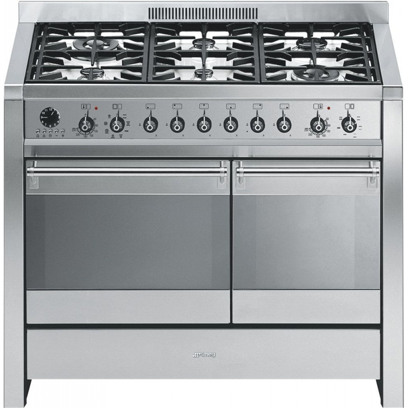 Aragaz SMEG Opera A2-8, 100X60cm, 6 arzatoare, cuptor dublu electric, timer, aprindere electronica,inox