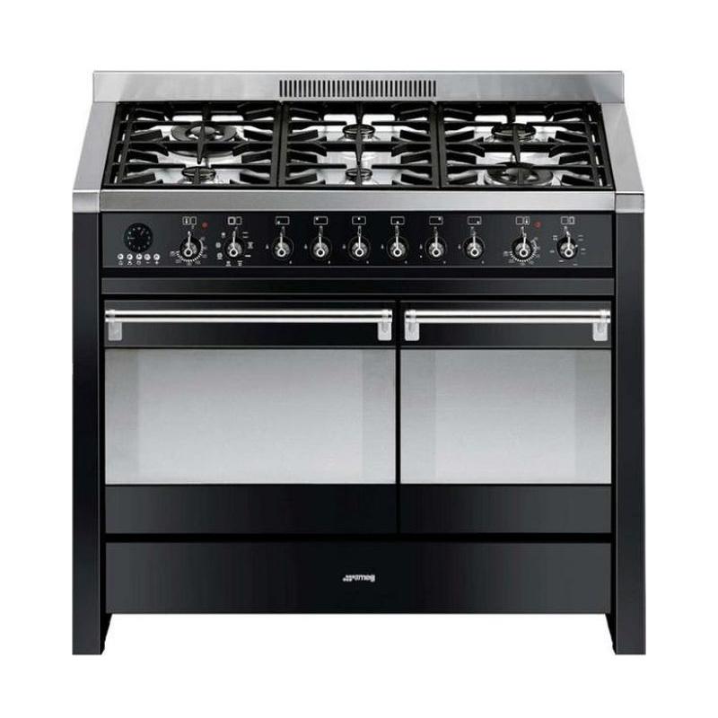 Aragaz SMEG Opera A2BL-8, 100X60cm, 6 arzatoare, cuptor dublu electric, timer, aprindere electronica,negru