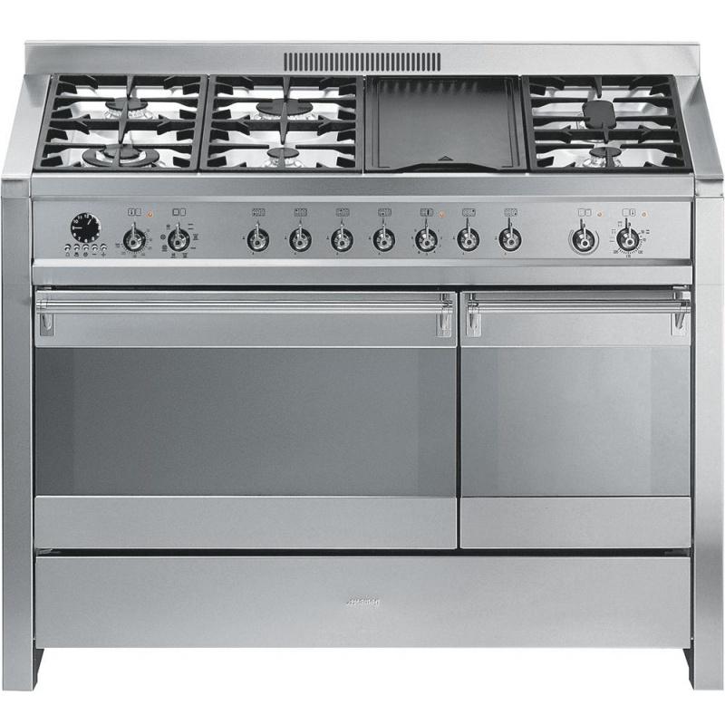 Aragaz SMEG Opera A3-7, 120X60cm, 6 arzatoare + gratar BBQ, cuptor dublu electric, timer, aprindere electronica, piroliza, inox