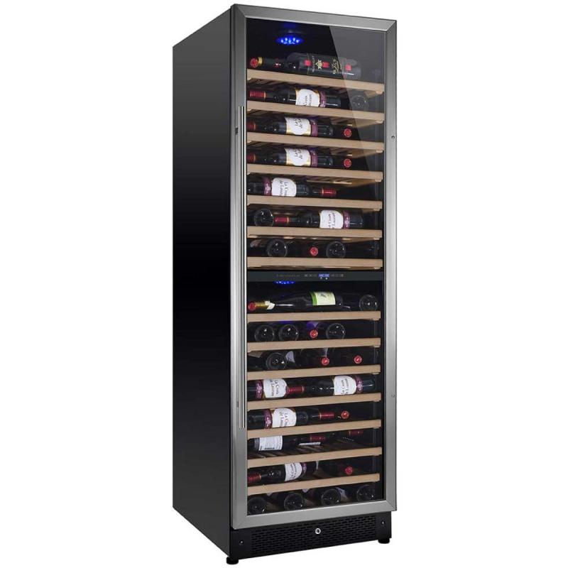 Vitrina de vinuri Nevada Concept NW171D-S, 171 sticle, doua zone, negru/inox